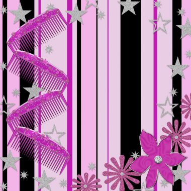Girly Background, Combs, Stars, Flowers