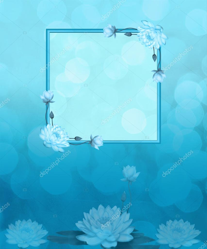 Lotus Flower Aqua Background