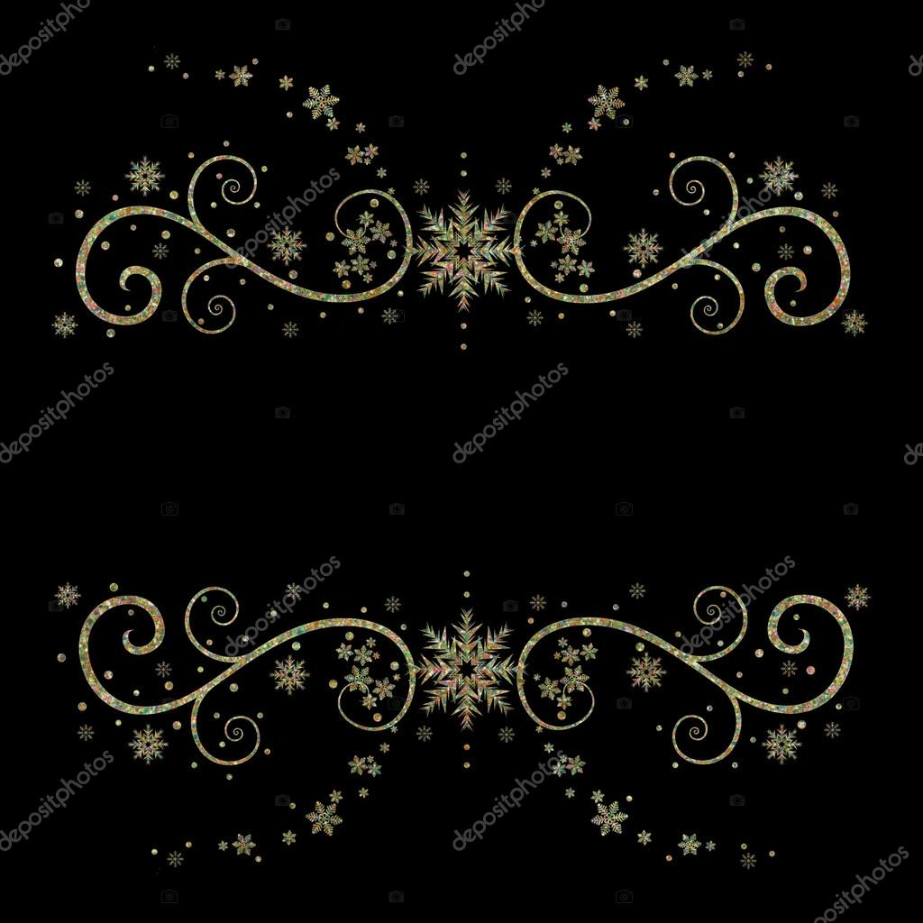Fancy And Elegant Black Gold Background Snowflakes Stock Photo