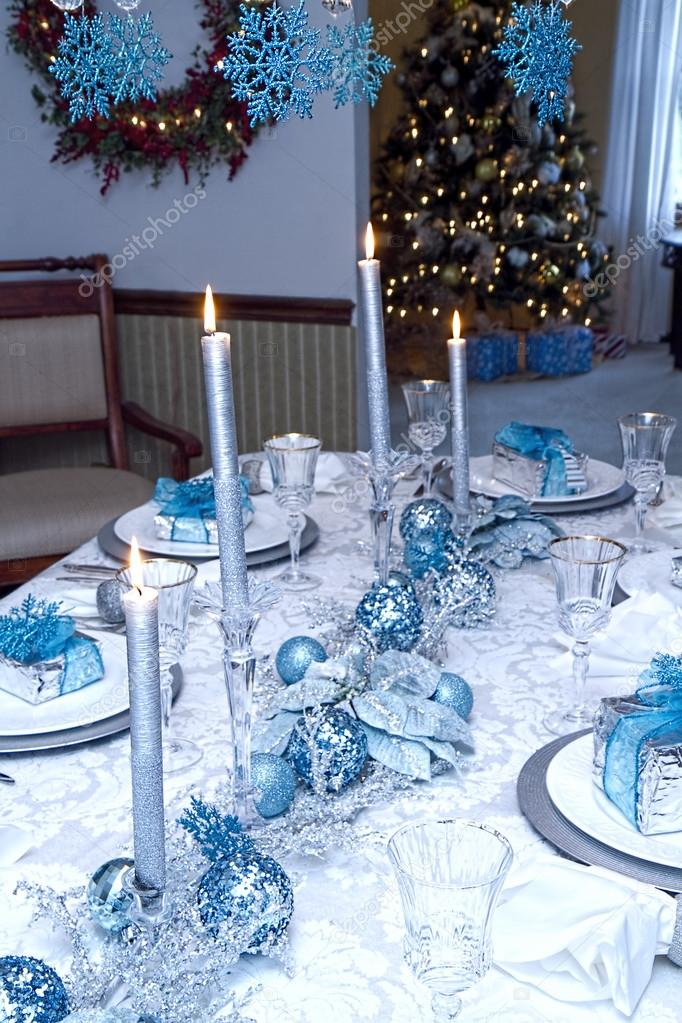 elegant blue silver decorated table christmas stock blue and silver christmas table decoration ideas