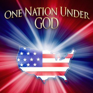 Patriotic USA Country Shaped out of Flag - One Nation Under God