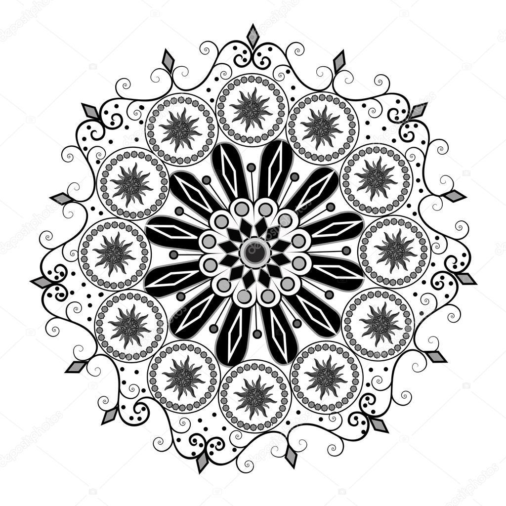 Süslü siyah beyaz Motif - süslü — Stok fotoğraf