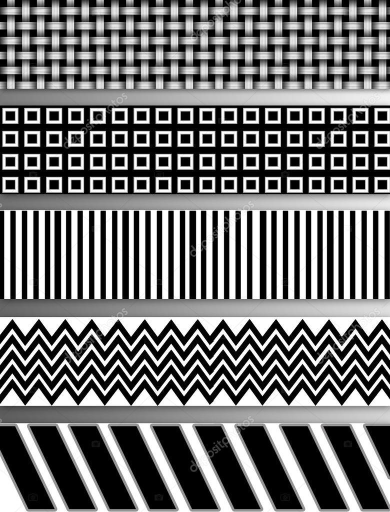Padrões Abstratos Preto E Branco E Imprimir Desenhos Stock
