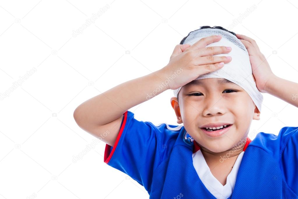 Youth athlete asian child with trauma of the head crying, isolated on white background