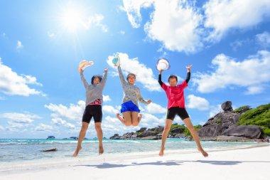 Tourist women three generation family on beach