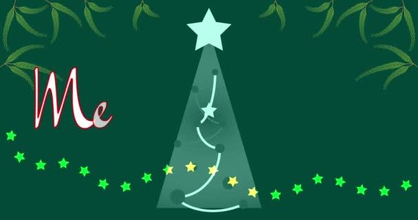 4K video Veselé Vánoce animovaný text. Zelené pozadí s vánoční strom, hvězdy, smrkové větve, hvězda věnce. Veselé Vánoce. 4K animace. Efekt psaní textu. Animovaný nápis - zimní dovolená.