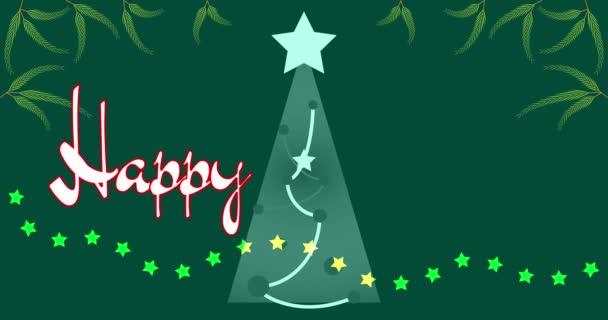 4K videó Boldog új évet animált szöveg. Zöld háttér karácsonyfa, csillagok, lucfenyő ágak. Szilveszter este. Karácsonyfa és fenyő ágak. Csillagkoszorú. 4K animáció. Szöveggépelő hatás. Téli szünet