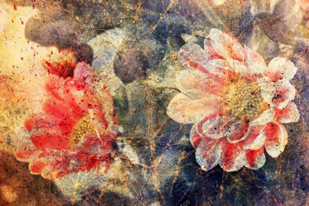 beautiful pink flowers and watercolor brushstrokes