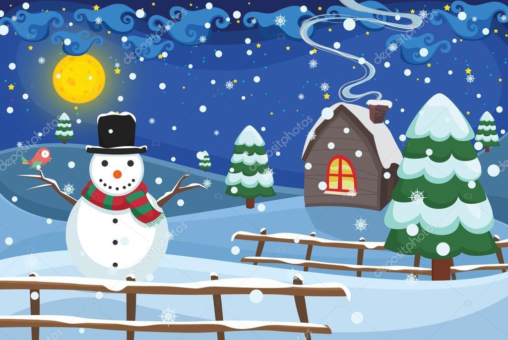 Winter Night Scene Vector Illustration Stock Vector Yusufdemirci