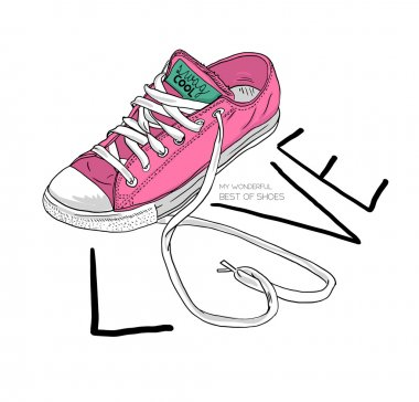 pink shoes with word love