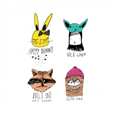 Different cartoons animals set clip art vector