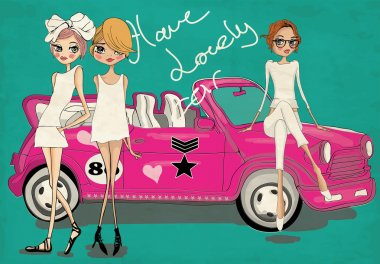 girls with pink car