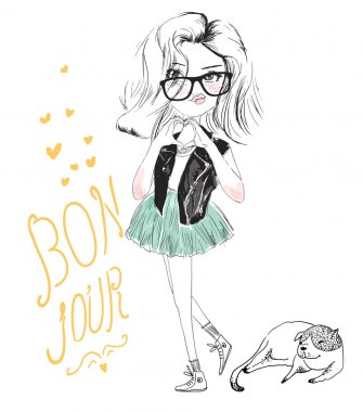 Vector illustration of beautiful fashion cute girl with dog clip art vector