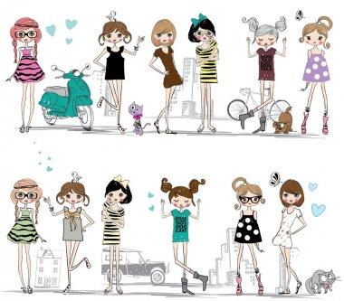 fashion girls on city street