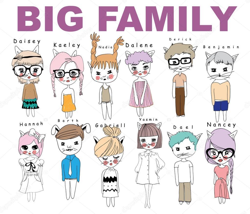 Grote Grappige Familie Met Dieren Oren Stockvector