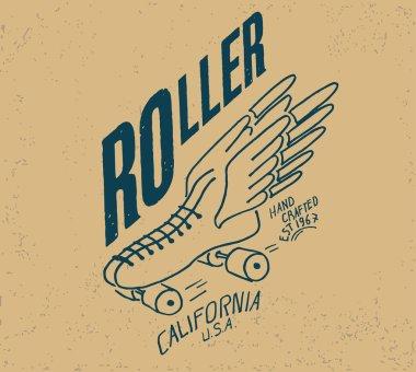 vintage emblem with roller