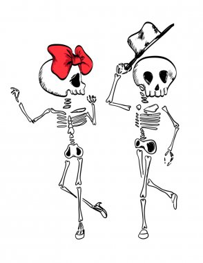 skeletons dance with ribbon