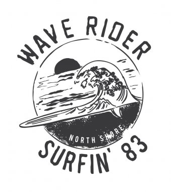 vintage emblem with surfing