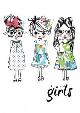girls set in cute dresses