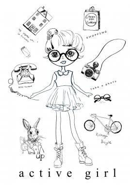 fashion girl with eyeglasses