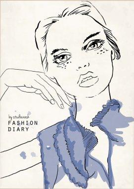 Vector illustration of beautiful fashion girl, hand on chin stock vector