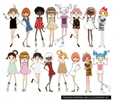 Vector illustration of beautiful fashion girls set with birds on white background stock vector