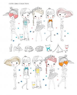Vector illustration of beautiful fashion girls set stock vector