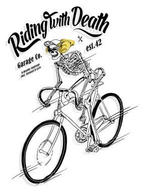 skeleton riding bicycle