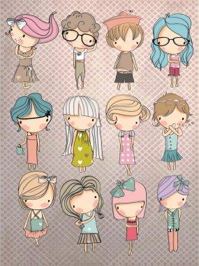 Set cute kids in different dresses, vector illustration clip art vector