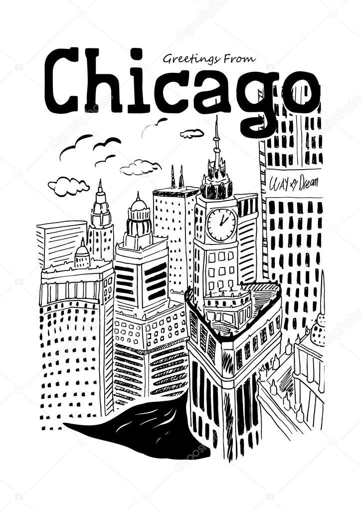 Chicago city skyscrapers