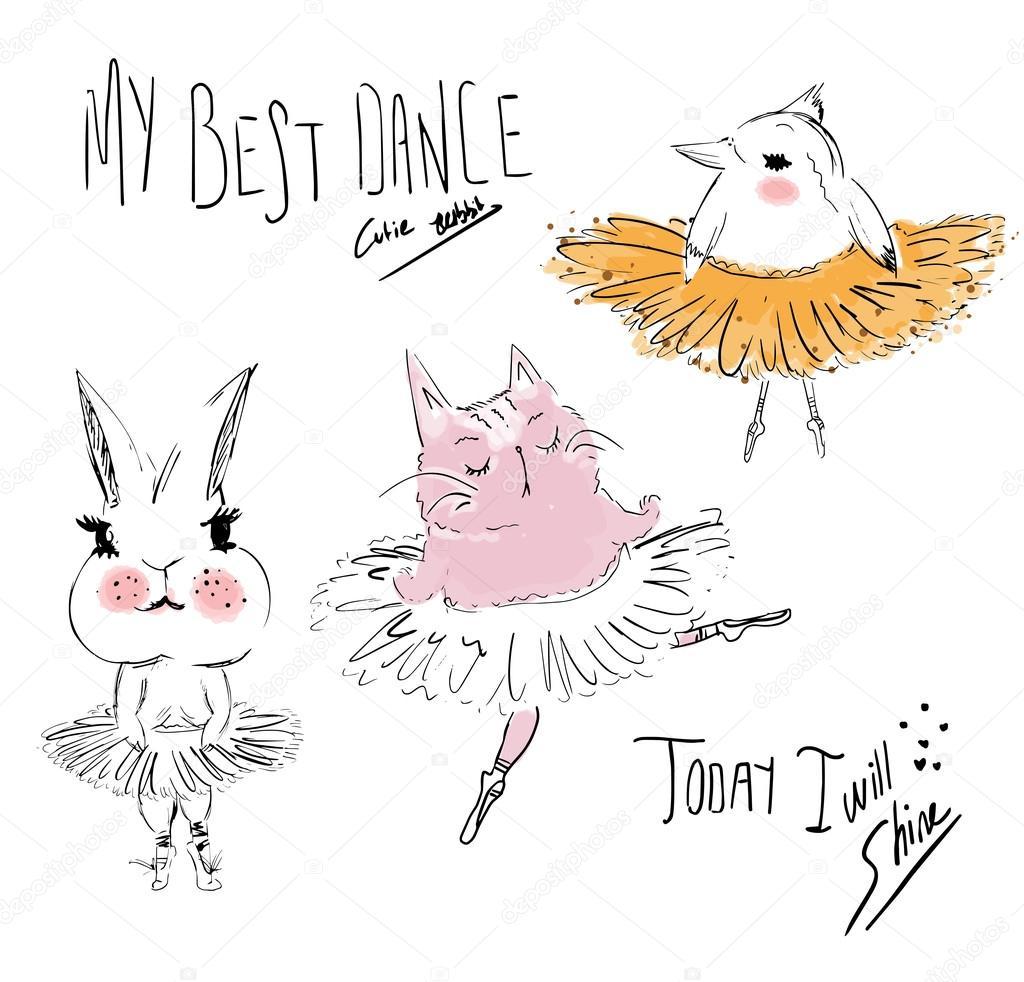 かわいいバレエ動物 — ストックベクター © depositphotos01 #97351972
