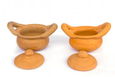 Clay pot with lid side white background.