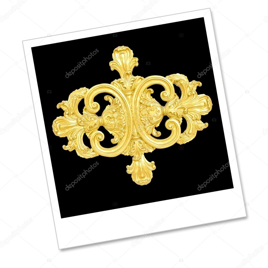 Stock Illustration: alte gold Verzierung auf Memo-Polaroid-p ...