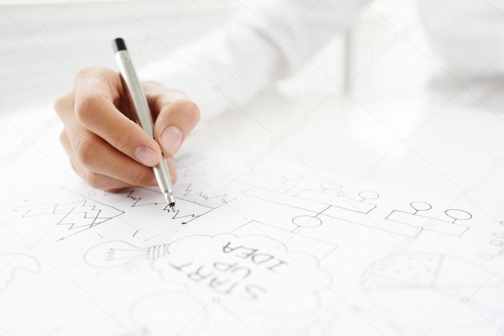 Mann-Zeichnung-Pläne — Stockfoto © DragonImages #101131160