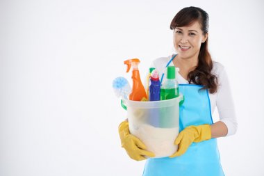 Woman ready for cleaning