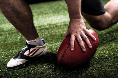Football player making touchdown