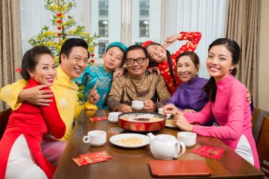 Family at the Tet table