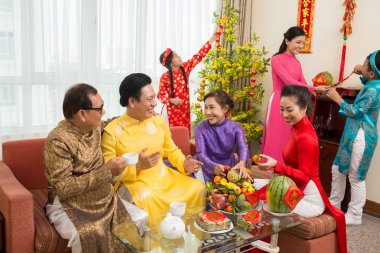 Family preparing for Tet celebration
