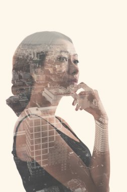 double exposure portrait of woman