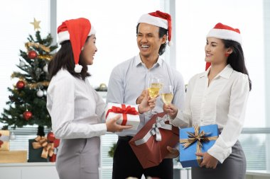 Business people having Christmas party