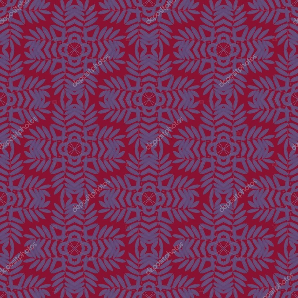 Print Seamless Pattern. Blue Mandala leaves with red background.