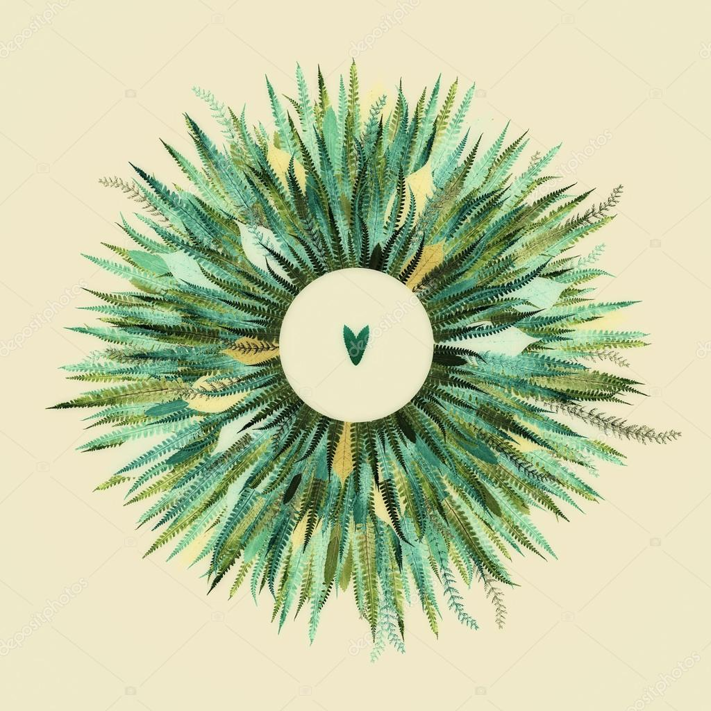 Floral Round Frame with leaves and light background.