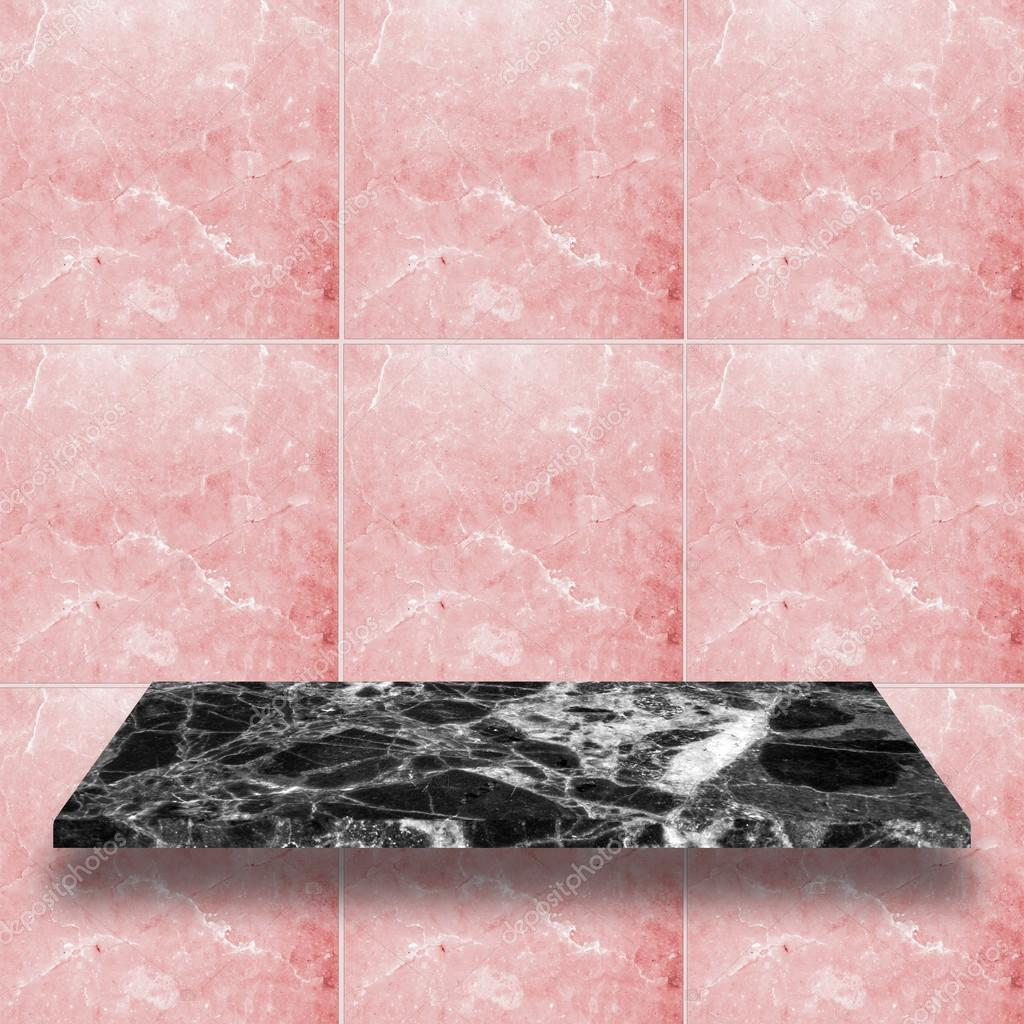 Top Marble Shelves With Rose Pink Marble Wall Stock Photo