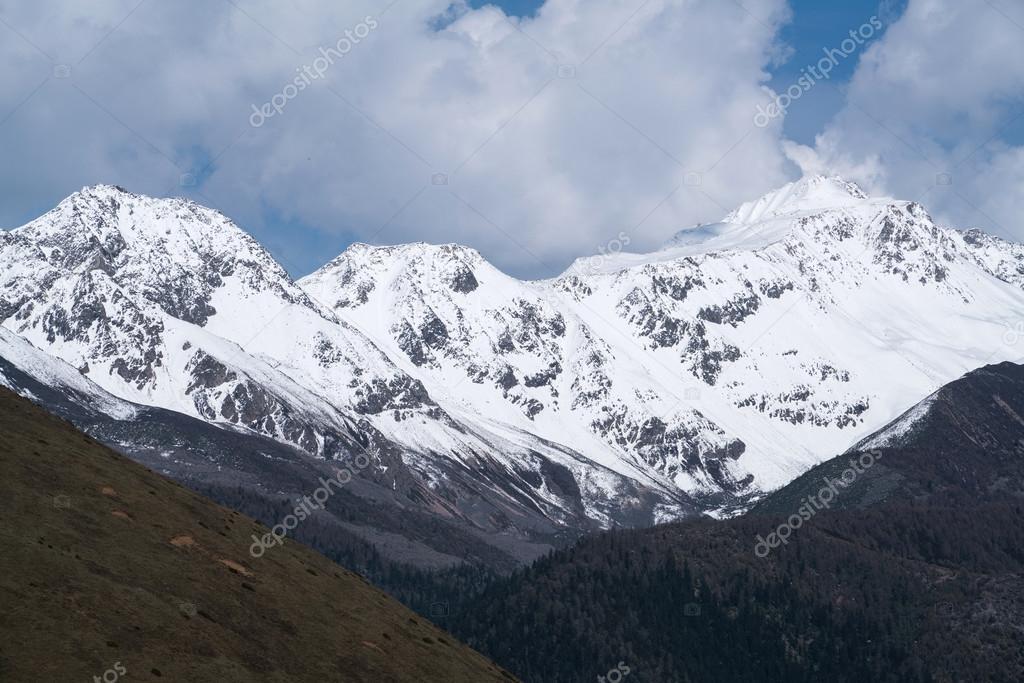 snow mountain side the road to Jiaju Tibetan village, Danba, Sichuan, China