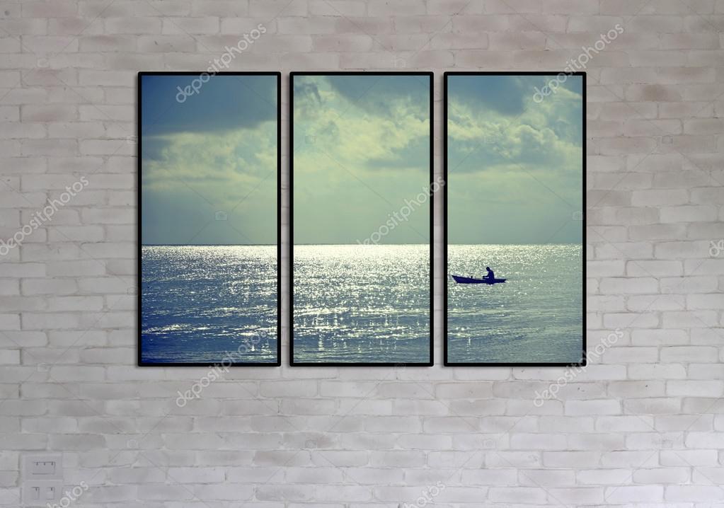 gemauerte Wand und Collage Bilderrahmen — Stockfoto © kampee_p ...
