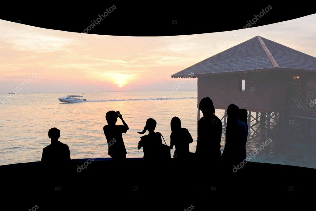 cinema screen with nature photo and audience.