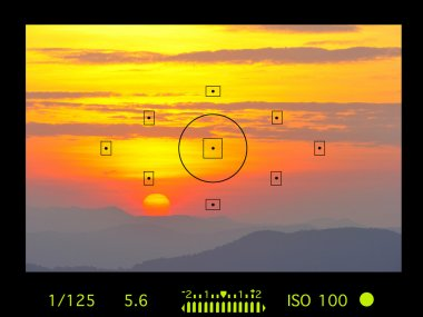 camera viewfinder with exposure photo and camera settings.