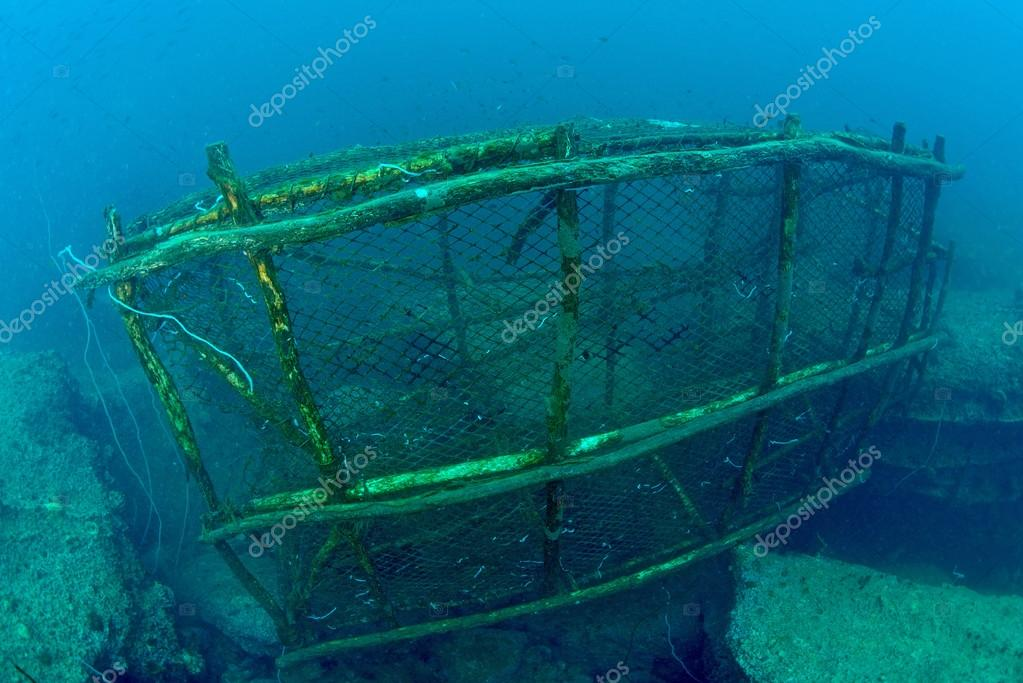 An old fish trap lies on the seafloor in Chumporn Sea, Thaialnd