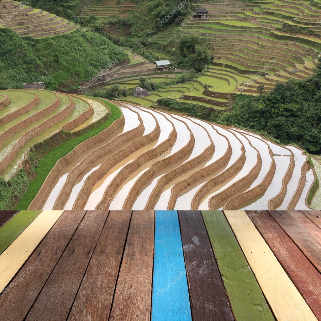 Wood table top on rice field terrace background montage concept