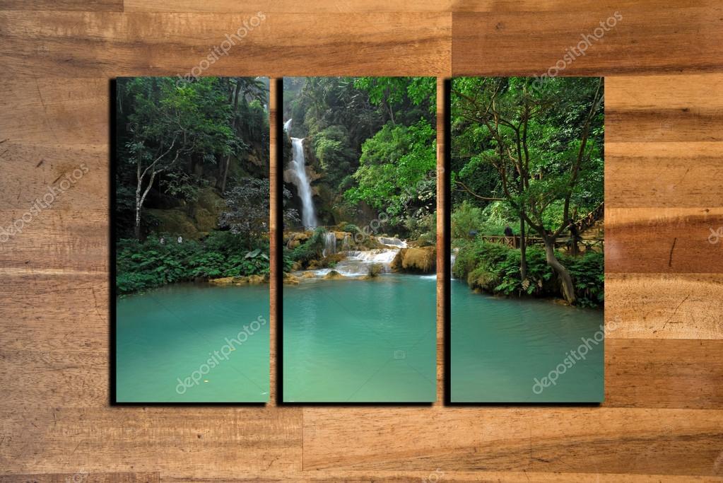 marco de collage de fotos de paisaje sobre fondo de madera — Foto de ...